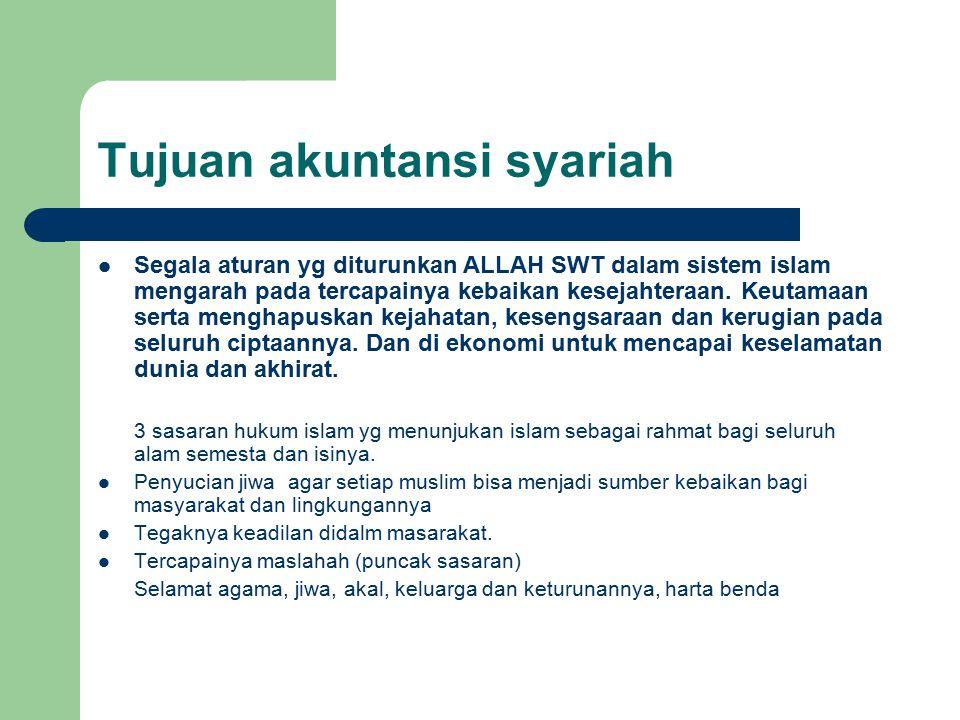 Tujuan akuntansi syariah Segala aturan yg diturunkan ALLAH SWT dalam sistem islam mengarah pada tercapainya kebaikan kesejahteraan.
