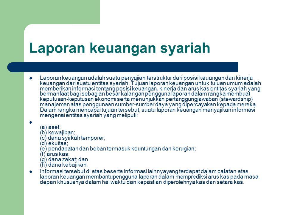 Laporan keuangan syariah Laporan keuangan adalah suatu penyajian terstruktur dari posisi keuangan dan kinerja keuangan dari suatu entitas syariah.