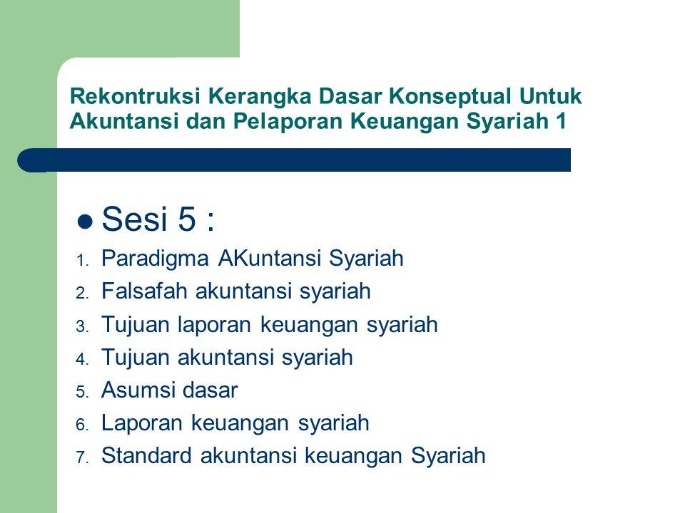 Rekontruksi Kerangka Dasar Konseptual Untuk Akuntansi dan Pelaporan Keuangan Syariah 1 Sesi 5 : 1.