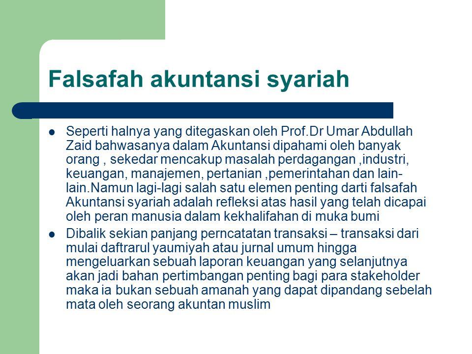 Falsafah akuntansi syariah oleh Prof Dr Umar Abdullah Ziad dan nilai seperti ihsan,amanah, siddiq, cerdas, dan tabligh atau menyampaikan seperti yang terangkum dalam konsep ESQ 165.Selayaknya bak ibarat batu pijakan tiap akuntan muslim yang berjihad di atas jalan panjang da'wah ini.