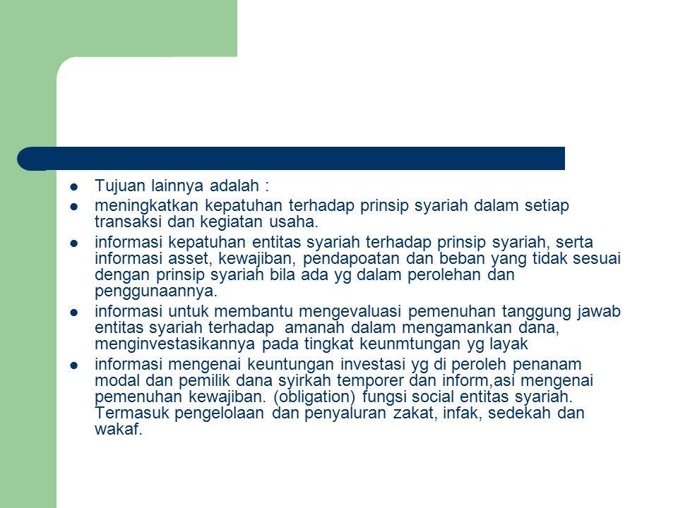Tujuan lainnya adalah : meningkatkan kepatuhan terhadap prinsip syariah dalam setiap transaksi dan kegiatan usaha.