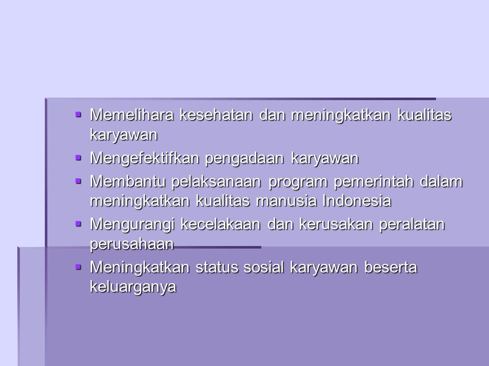  Memelihara kesehatan dan meningkatkan kualitas karyawan  Mengefektifkan pengadaan karyawan  Membantu pelaksanaan program pemerintah dalam meningkatkan kualitas manusia Indonesia  Mengurangi kecelakaan dan kerusakan peralatan perusahaan  Meningkatkan status sosial karyawan beserta keluarganya