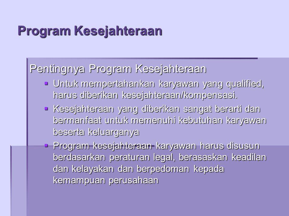 Program Kesejahteraan Pentingnya Program Kesejahteraan  Untuk mempertahankan karyawan yang qualified, harus diberikan kesejahteraan/kompensasi.