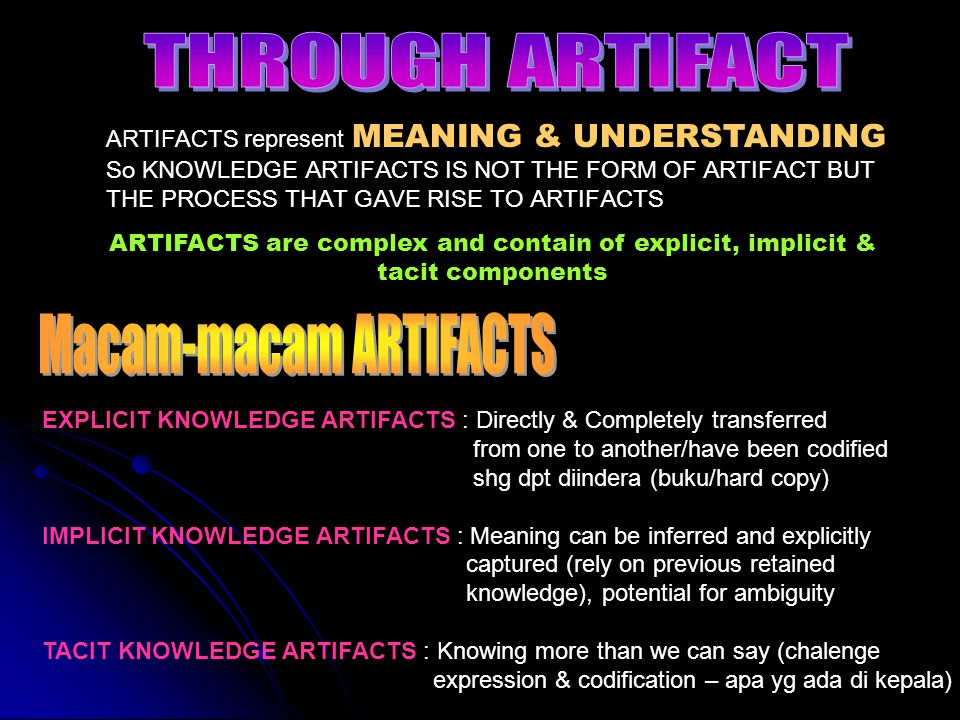 ARTIFACTS represent MEANING & UNDERSTANDING So KNOWLEDGE ARTIFACTS IS NOT THE FORM OF ARTIFACT BUT THE PROCESS THAT GAVE RISE TO ARTIFACTS ARTIFACTS a