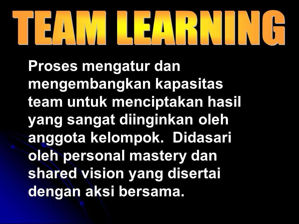 Proses mengatur dan mengembangkan kapasitas team untuk menciptakan hasil yang sangat diinginkan oleh anggota kelompok.