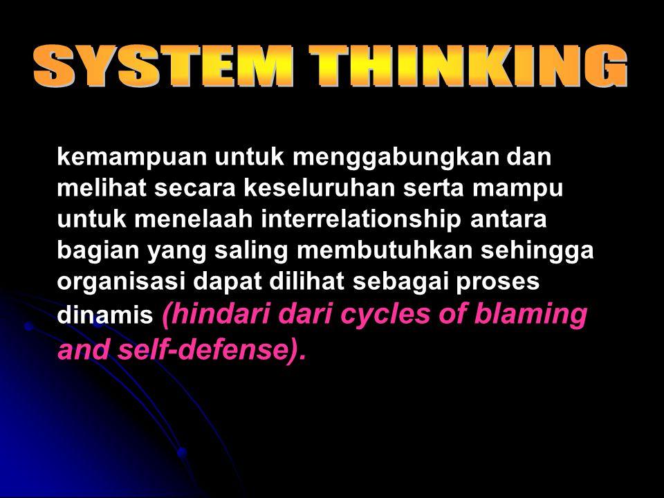 kemampuan untuk menggabungkan dan melihat secara keseluruhan serta mampu untuk menelaah interrelationship antara bagian yang saling membutuhkan sehingga organisasi dapat dilihat sebagai proses dinamis (hindari dari cycles of blaming and self-defense).