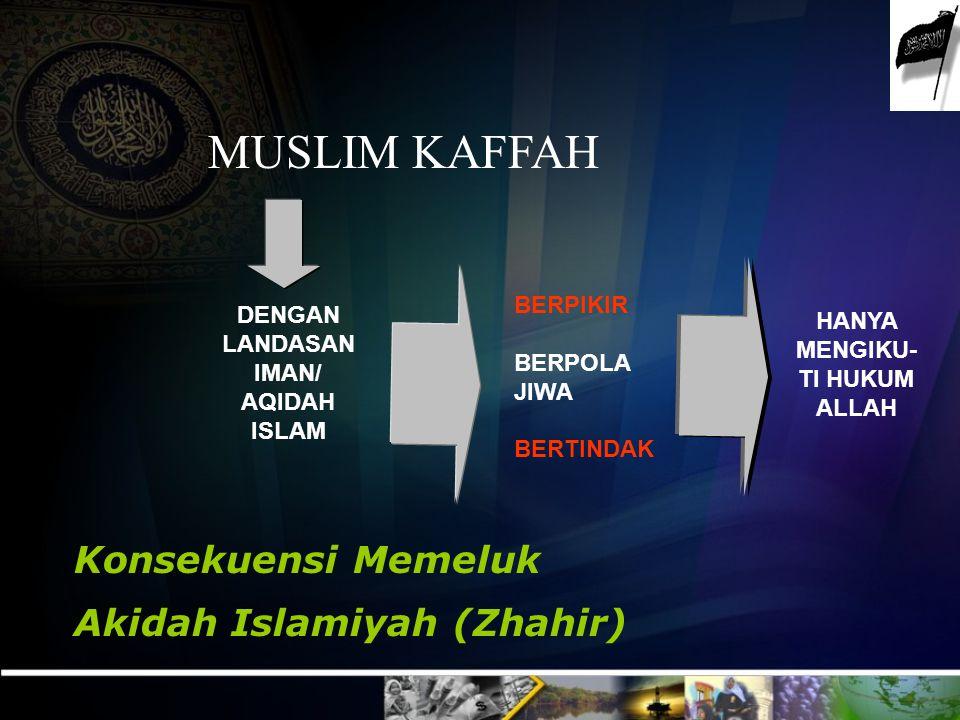 MUSLIM KAFFAH HANYA MENGIKU- TI HUKUM ALLAH BERPIKIR BERPOLA JIWA BERTINDAK DENGAN LANDASAN IMAN/ AQIDAH ISLAM Konsekuensi Memeluk Akidah Islamiyah (Zhahir)