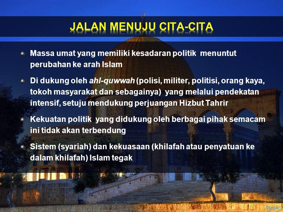 Massa umat yang memiliki kesadaran politik menuntut perubahan ke arah Islam Di dukung oleh ahl-quwwah (polisi, militer, politisi, orang kaya, tokoh ma