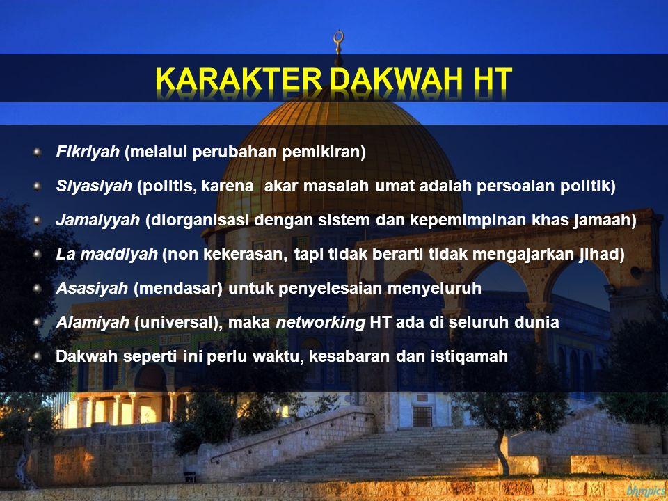 Fikriyah (melalui perubahan pemikiran) Siyasiyah (politis, karena akar masalah umat adalah persoalan politik) Jamaiyyah (diorganisasi dengan sistem da