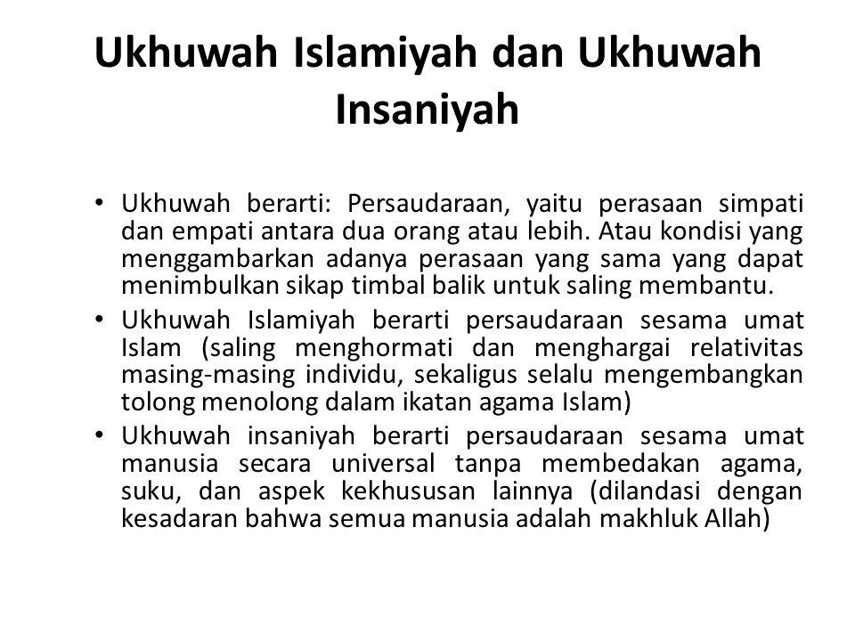 Ukhuwah Islamiyah dan Ukhuwah Insaniyah Ukhuwah berarti: Persaudaraan, yaitu perasaan simpati dan empati antara dua orang atau lebih. Atau kondisi yan