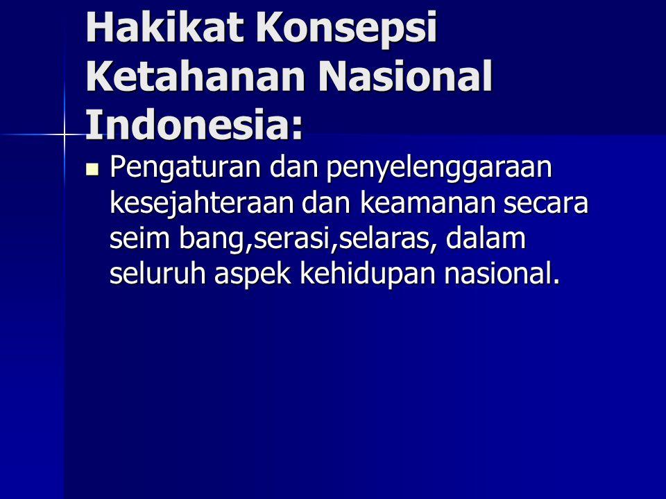 Hakikat Konsepsi Ketahanan Nasional Indonesia: Pengaturan dan penyelenggaraan kesejahteraan dan keamanan secara seim bang,serasi,selaras, dalam seluru