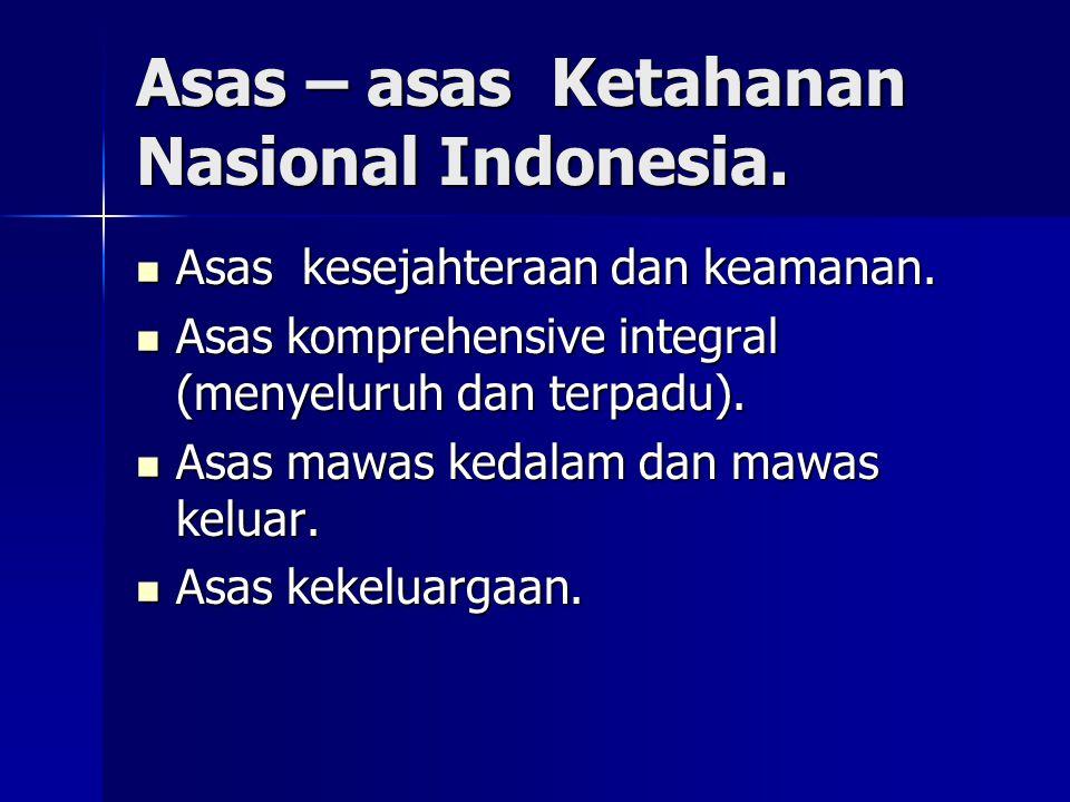 Asas – asas Ketahanan Nasional Indonesia. Asas kesejahteraan dan keamanan. Asas kesejahteraan dan keamanan. Asas komprehensive integral (menyeluruh da