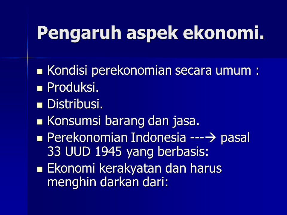 Pengaruh aspek ekonomi. Kondisi perekonomian secara umum : Kondisi perekonomian secara umum : Produksi. Produksi. Distribusi. Distribusi. Konsumsi bar