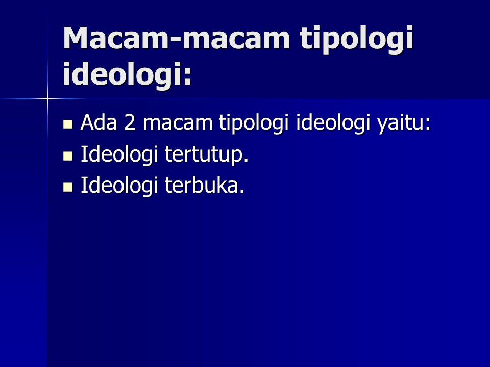 Macam-macam tipologi ideologi: Ada 2 macam tipologi ideologi yaitu: Ada 2 macam tipologi ideologi yaitu: Ideologi tertutup. Ideologi tertutup. Ideolog