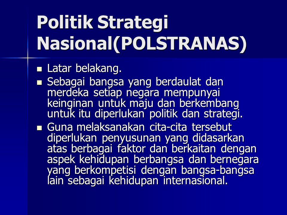 Politik Strategi Nasional(POLSTRANAS) Latar belakang. Latar belakang. Sebagai bangsa yang berdaulat dan merdeka setiap negara mempunyai keinginan untu