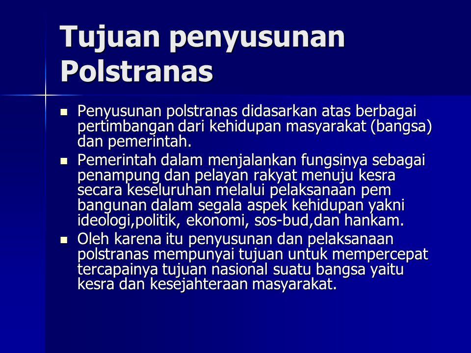 Tujuan penyusunan Polstranas Penyusunan polstranas didasarkan atas berbagai pertimbangan dari kehidupan masyarakat (bangsa) dan pemerintah. Penyusunan