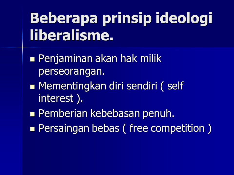 Beberapa prinsip ideologi liberalisme. Penjaminan akan hak milik perseorangan. Penjaminan akan hak milik perseorangan. Mementingkan diri sendiri ( sel