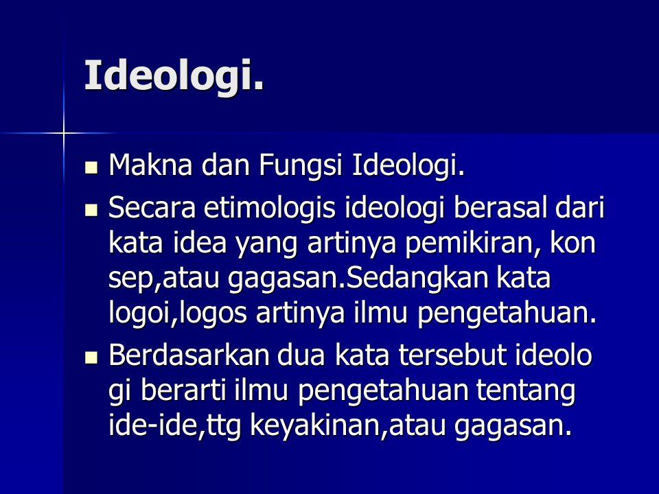 Ideologi. Makna dan Fungsi Ideologi. Makna dan Fungsi Ideologi. Secara etimologis ideologi berasal dari kata idea yang artinya pemikiran, kon sep,atau