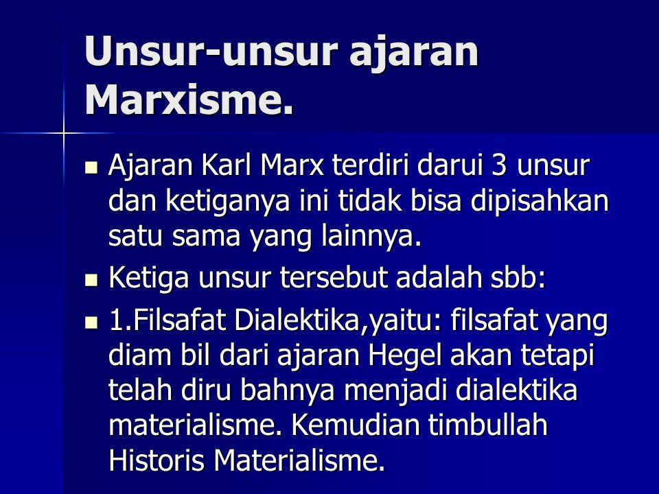 Unsur-unsur ajaran Marxisme. Ajaran Karl Marx terdiri darui 3 unsur dan ketiganya ini tidak bisa dipisahkan satu sama yang lainnya. Ajaran Karl Marx t