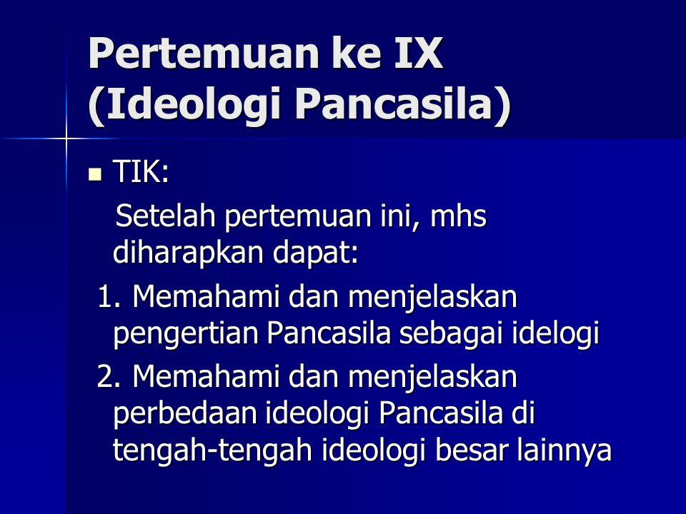 Pertemuan ke IX (Ideologi Pancasila) TIK: TIK: Setelah pertemuan ini, mhs diharapkan dapat: Setelah pertemuan ini, mhs diharapkan dapat: 1. Memahami d