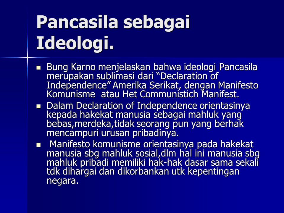 """Pancasila sebagai Ideologi. Bung Karno menjelaskan bahwa ideologi Pancasila merupakan sublimasi dari """"Declaration of Independence"""" Amerika Serikat, de"""