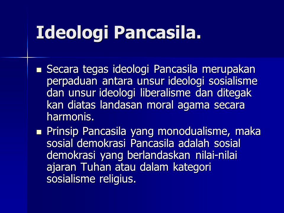 Ideologi Pancasila. Secara tegas ideologi Pancasila merupakan perpaduan antara unsur ideologi sosialisme dan unsur ideologi liberalisme dan ditegak ka