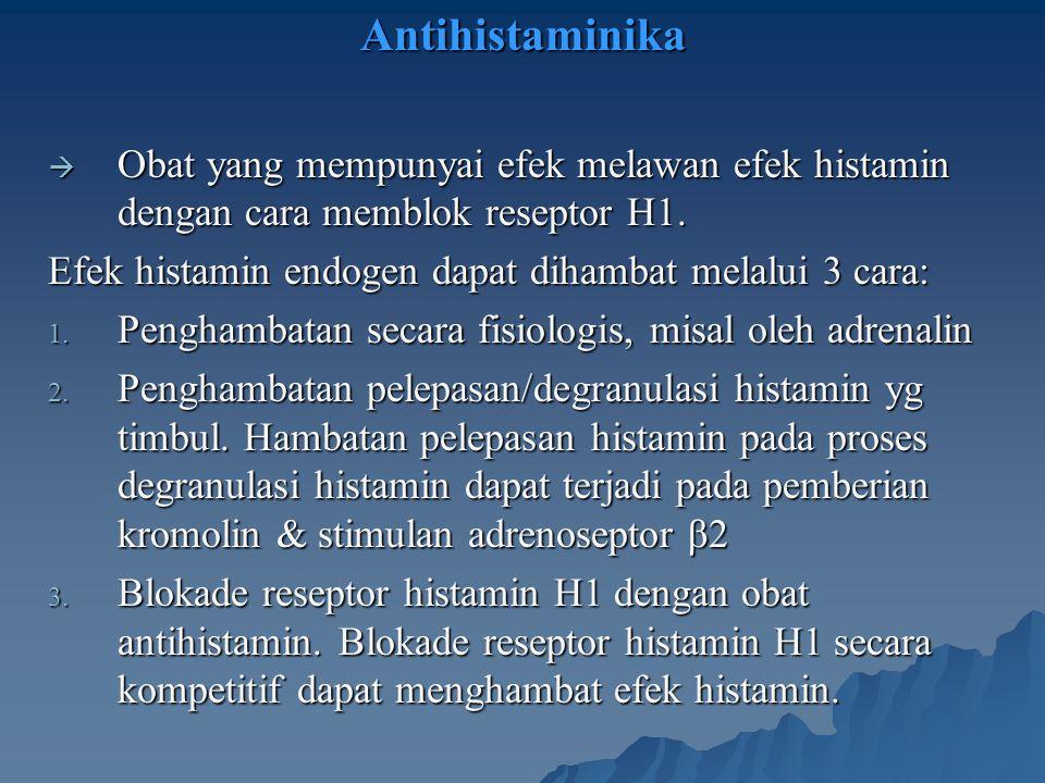 Antihistaminika  Obat yang mempunyai efek melawan efek histamin dengan cara memblok reseptor H1. Efek histamin endogen dapat dihambat melalui 3 cara: