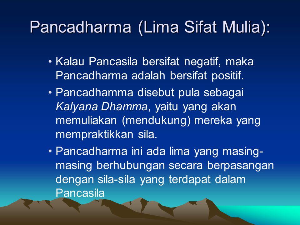 Pancadharma (Lima Sifat Mulia): Kalau Pancasila bersifat negatif, maka Pancadharma adalah bersifat positif. Pancadhamma disebut pula sebagai Kalyana D