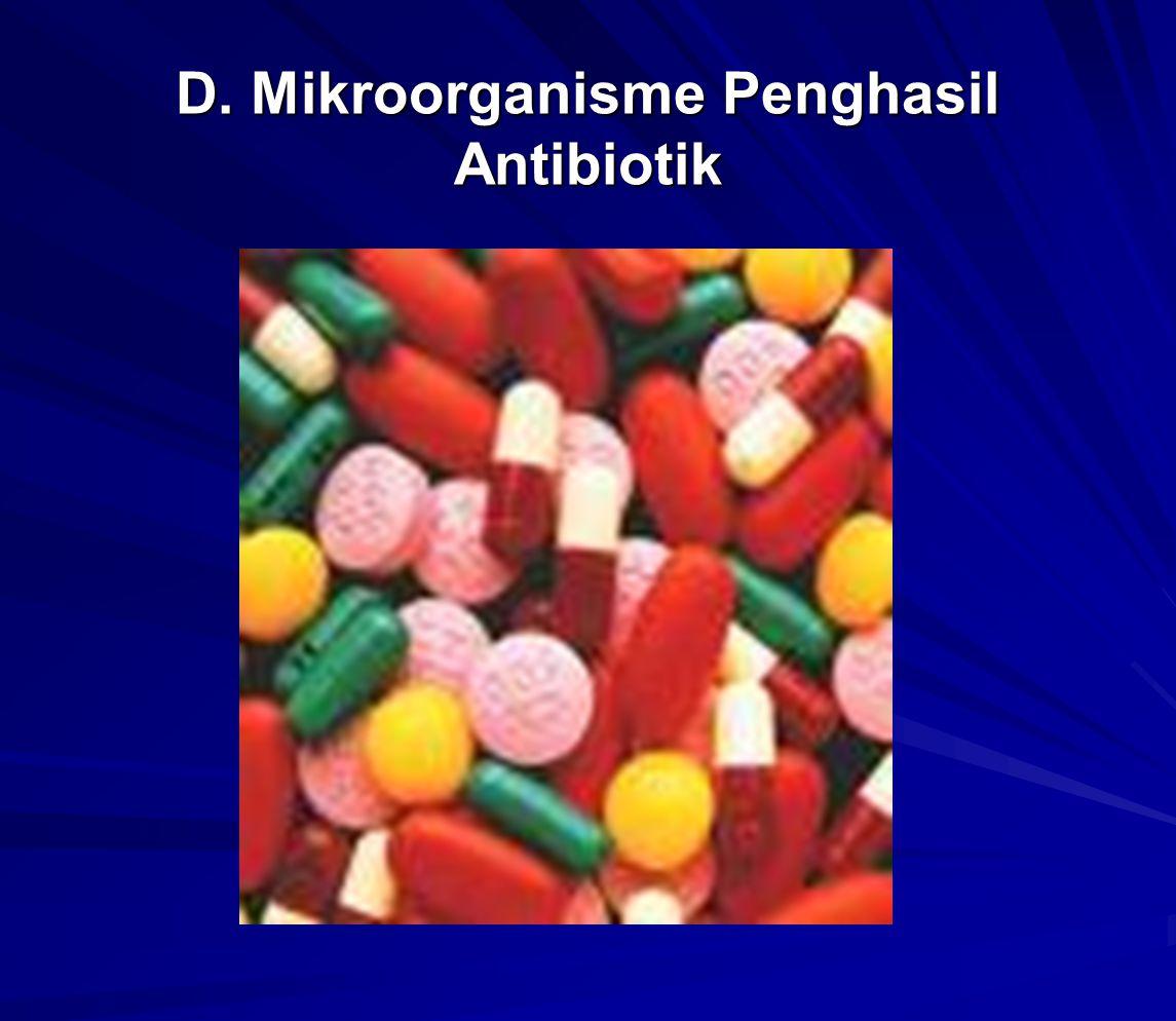Antibiotik penicilin diihasilkan oleh jamur Penicillium, penisilin ditemukan secara tidak sengaja oleh Alexander Flemming pd th1929.