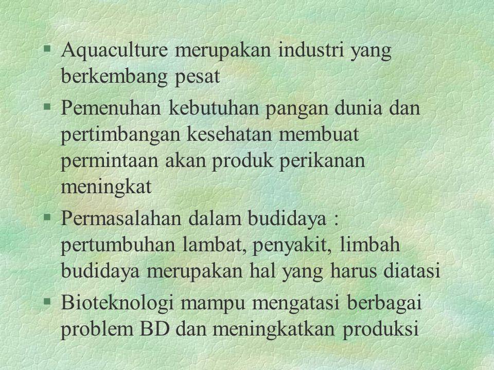 §Aquaculture merupakan industri yang berkembang pesat §Pemenuhan kebutuhan pangan dunia dan pertimbangan kesehatan membuat permintaan akan produk perikanan meningkat §Permasalahan dalam budidaya : pertumbuhan lambat, penyakit, limbah budidaya merupakan hal yang harus diatasi §Bioteknologi mampu mengatasi berbagai problem BD dan meningkatkan produksi