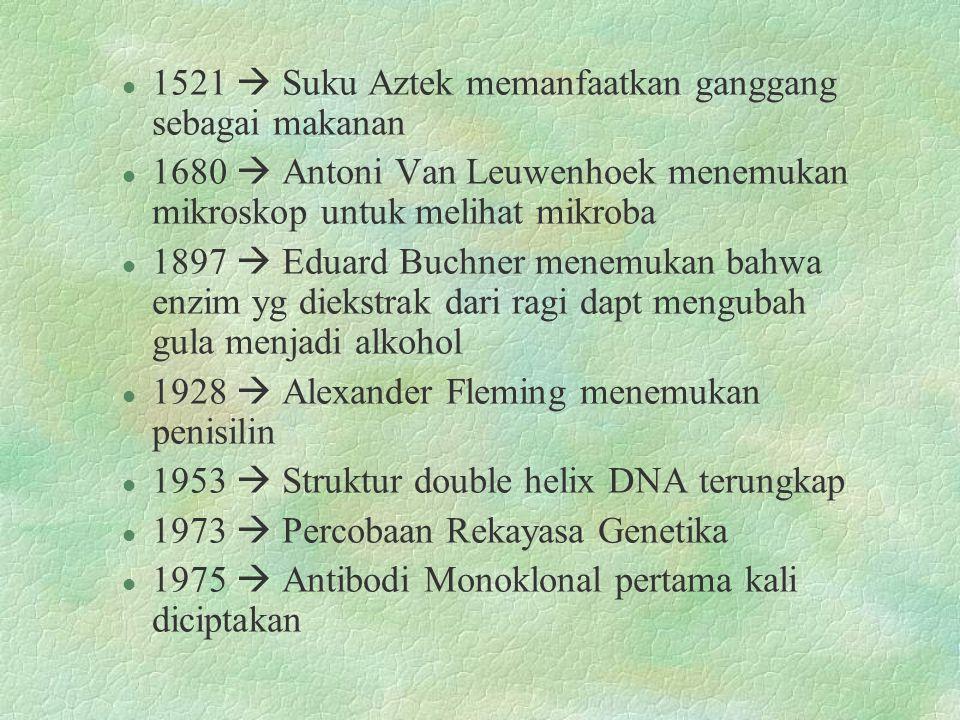 l 1521  Suku Aztek memanfaatkan ganggang sebagai makanan l 1680  Antoni Van Leuwenhoek menemukan mikroskop untuk melihat mikroba l 1897  Eduard Buchner menemukan bahwa enzim yg diekstrak dari ragi dapt mengubah gula menjadi alkohol l 1928  Alexander Fleming menemukan penisilin l 1953  Struktur double helix DNA terungkap l 1973  Percobaan Rekayasa Genetika l 1975  Antibodi Monoklonal pertama kali diciptakan