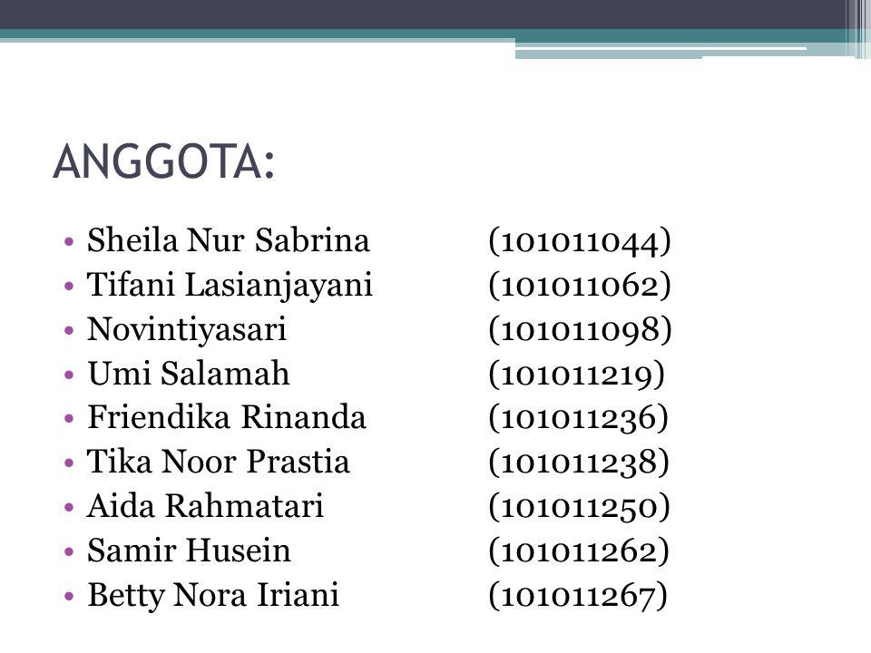 ANGGOTA: Sheila Nur Sabrina (101011044) Tifani Lasianjayani(101011062) Novintiyasari(101011098) Umi Salamah(101011219) Friendika Rinanda(101011236) Tika Noor Prastia(101011238) Aida Rahmatari(101011250) Samir Husein(101011262) Betty Nora Iriani(101011267)