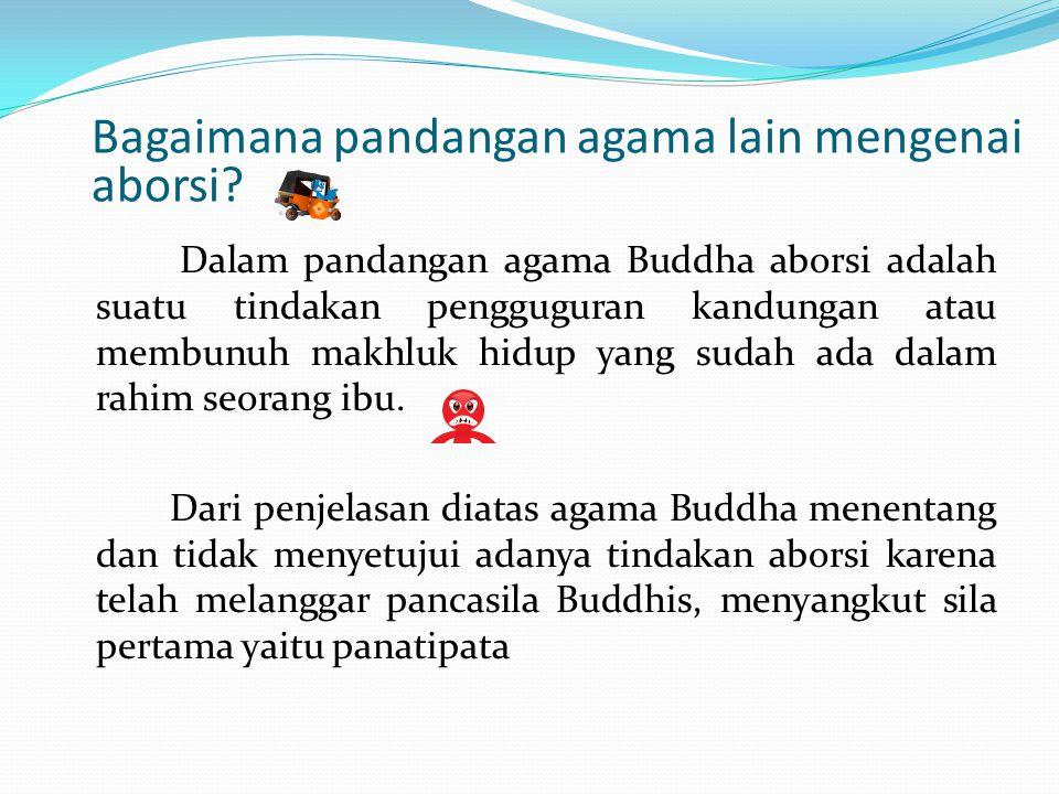 Dalam pandangan agama Buddha aborsi adalah suatu tindakan pengguguran kandungan atau membunuh makhluk hidup yang sudah ada dalam rahim seorang ibu. Da