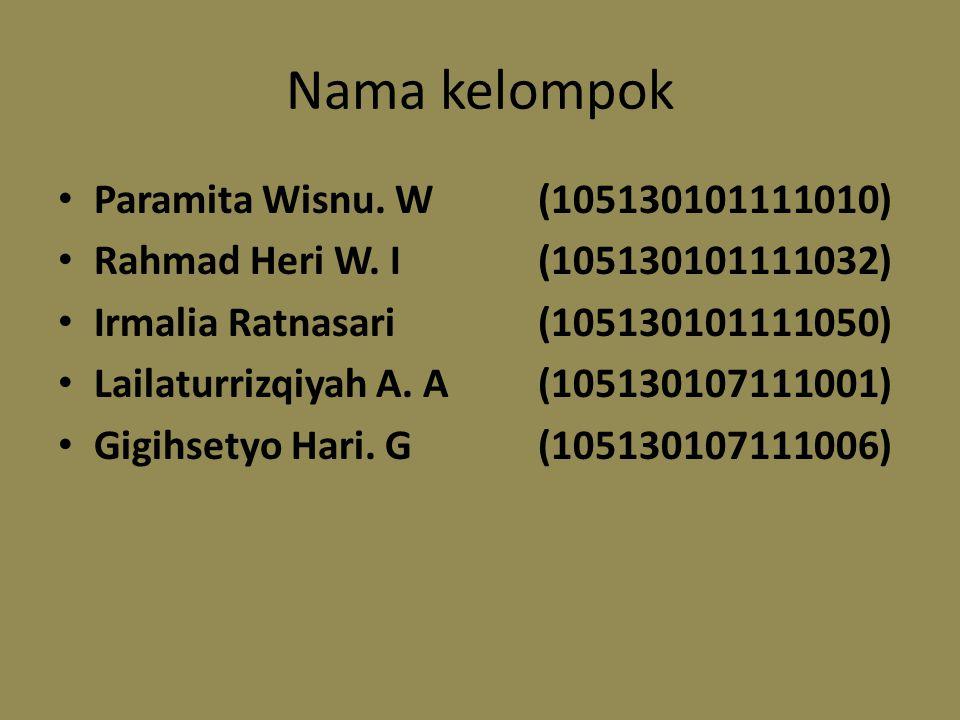 Nama kelompok Paramita Wisnu. W(105130101111010) Rahmad Heri W.
