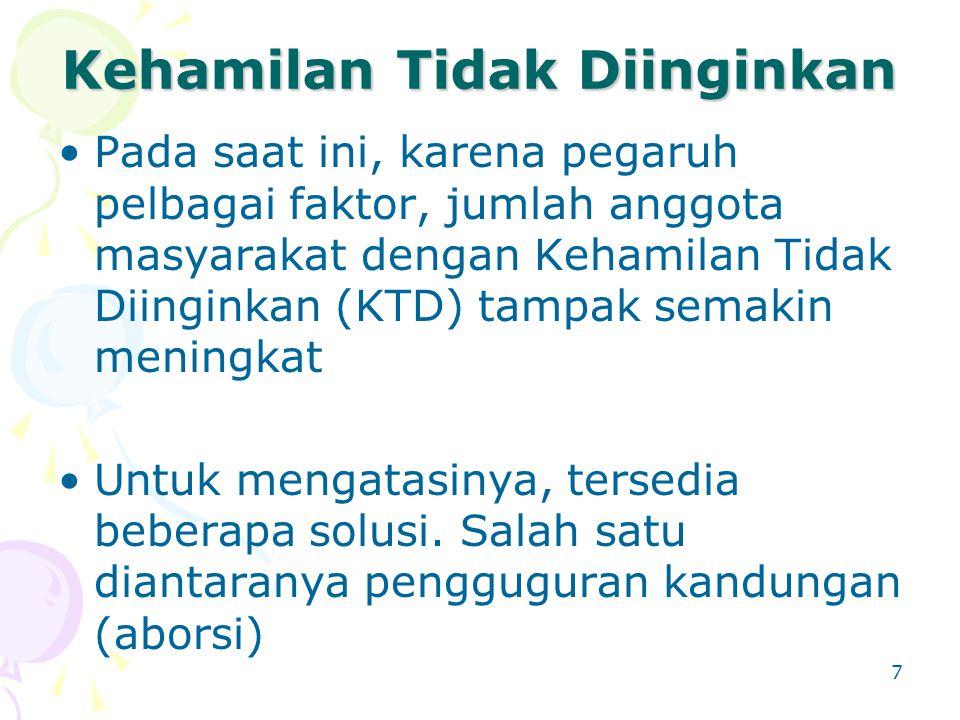 7 Kehamilan Tidak Diinginkan Pada saat ini, karena pegaruh pelbagai faktor, jumlah anggota masyarakat dengan Kehamilan Tidak Diinginkan (KTD) tampak s
