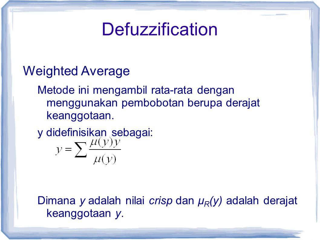 Weighted Average Metode ini mengambil rata-rata dengan menggunakan pembobotan berupa derajat keanggotaan. y didefinisikan sebagai: Dimana y adalah nil