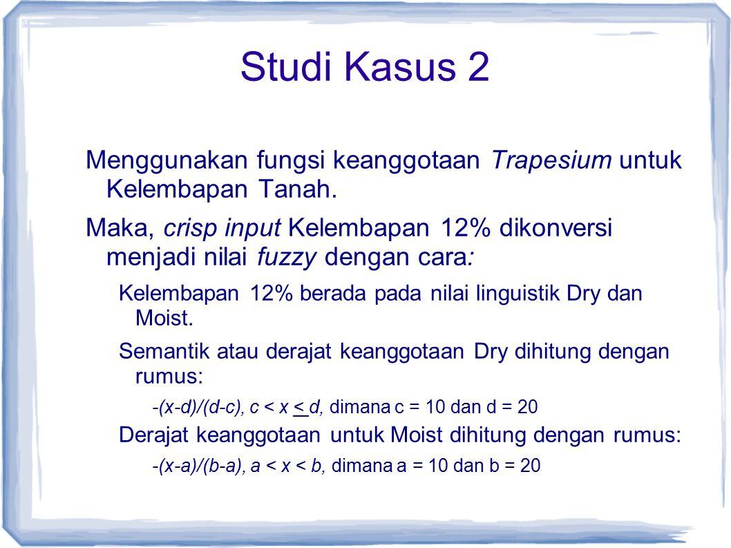 Studi Kasus 2 Menggunakan fungsi keanggotaan Trapesium untuk Kelembapan Tanah. Maka, crisp input Kelembapan 12% dikonversi menjadi nilai fuzzy dengan