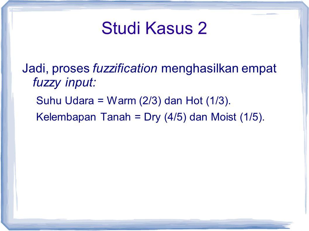 Studi Kasus 2 Jadi, proses fuzzification menghasilkan empat fuzzy input: Suhu Udara = Warm (2/3) dan Hot (1/3). Kelembapan Tanah = Dry (4/5) dan Moist