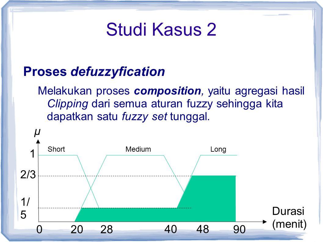 Studi Kasus 2 Proses defuzzyfication Melakukan proses composition, yaitu agregasi hasil Clipping dari semua aturan fuzzy sehingga kita dapatkan satu fuzzy set tunggal.