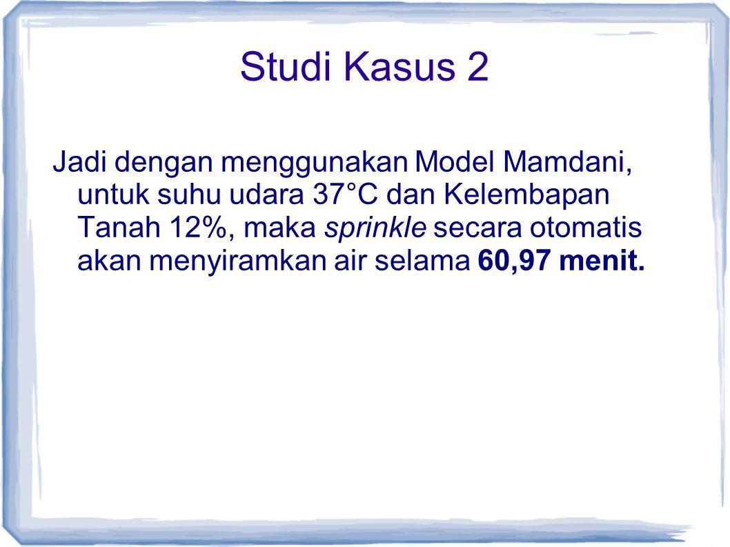 Studi Kasus 2 Jadi dengan menggunakan Model Mamdani, untuk suhu udara 37°C dan Kelembapan Tanah 12%, maka sprinkle secara otomatis akan menyiramkan air selama 60,97 menit.