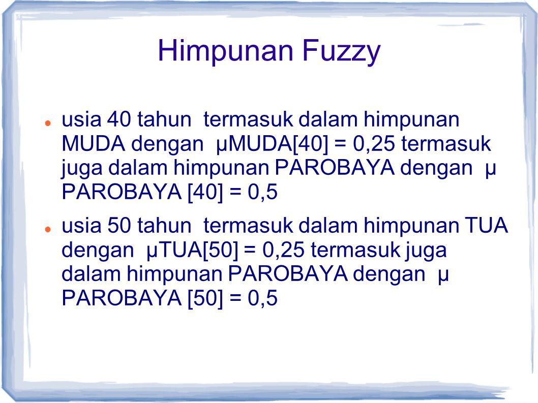 Himpunan Fuzzy usia 40 tahun termasuk dalam himpunan MUDA dengan µMUDA[40] = 0,25 termasuk juga dalam himpunan PAROBAYA dengan µ PAROBAYA [40] = 0,5 u