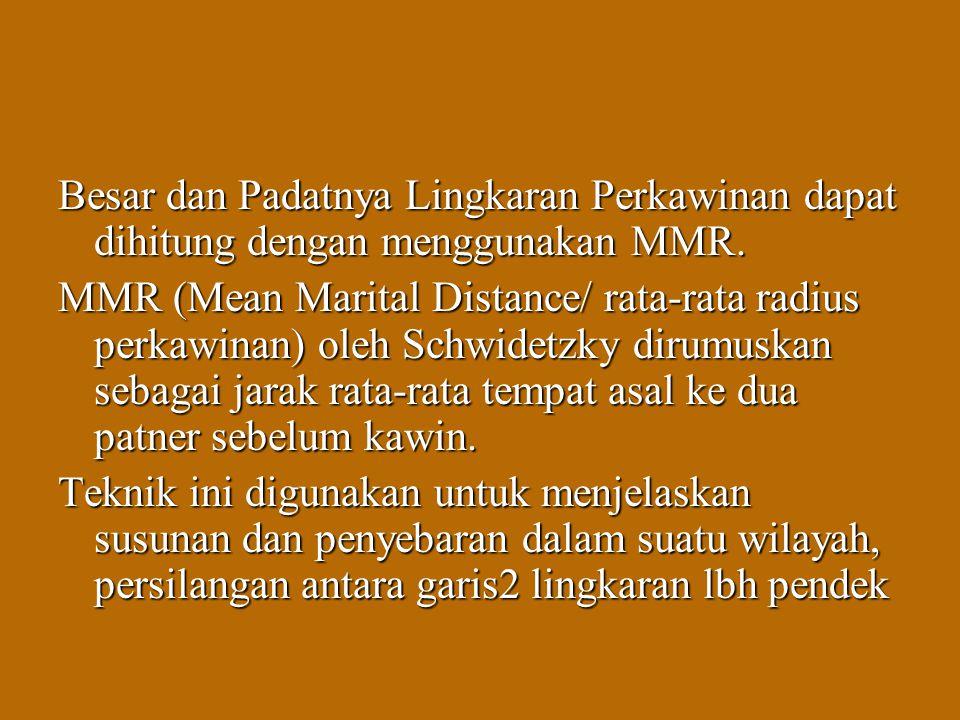 Besar dan Padatnya Lingkaran Perkawinan dapat dihitung dengan menggunakan MMR. MMR (Mean Marital Distance/ rata-rata radius perkawinan) oleh Schwidetz