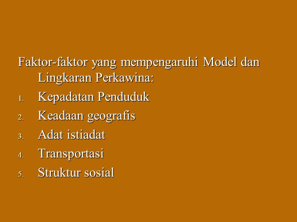 Faktor-faktor yang mempengaruhi Model dan Lingkaran Perkawina: 1. Kepadatan Penduduk 2. Keadaan geografis 3. Adat istiadat 4. Transportasi 5. Struktur