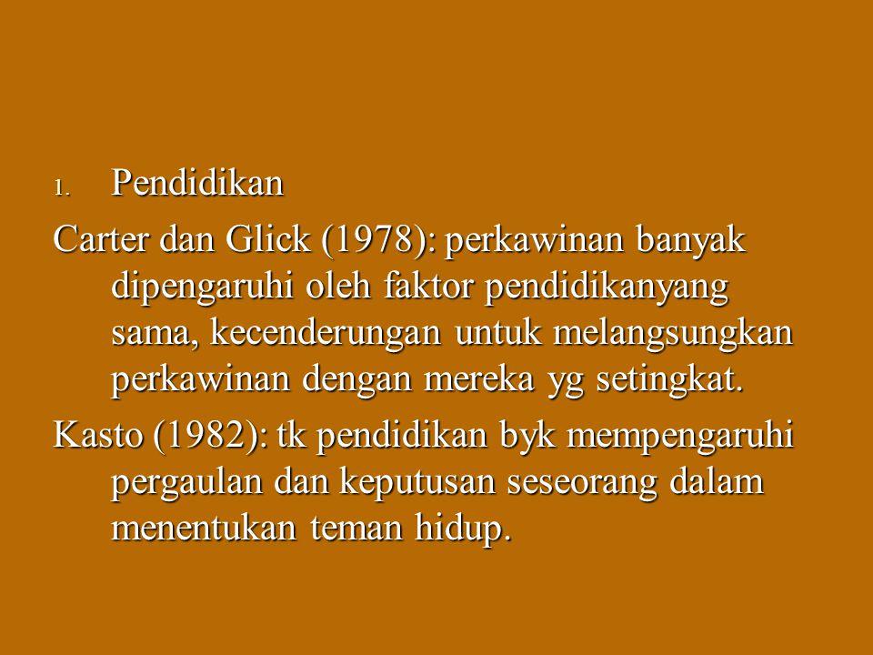 1. Pendidikan Carter dan Glick (1978): perkawinan banyak dipengaruhi oleh faktor pendidikanyang sama, kecenderungan untuk melangsungkan perkawinan den