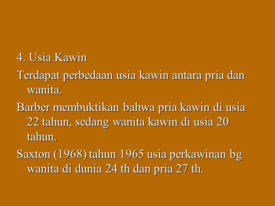 Koentjaraningrat (1985), ada perasaan kurang setuju dari pihak kaum kerabat, bila seorang pemuda memilih wanita yg usianya lebih tua untuk dijadikan pasangannya.