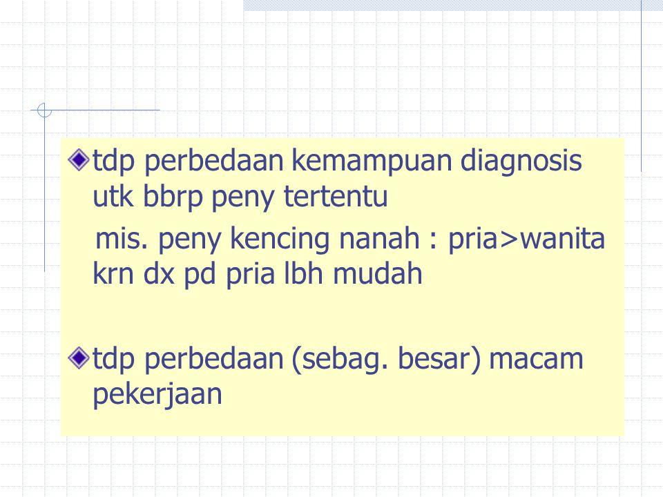 tdp perbedaan kemampuan diagnosis utk bbrp peny tertentu mis. peny kencing nanah : pria>wanita krn dx pd pria lbh mudah tdp perbedaan (sebag. besar) m