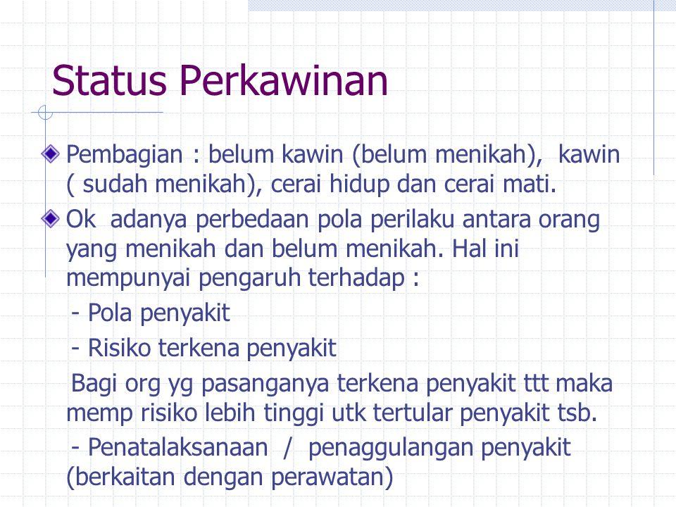 Status Perkawinan Pembagian : belum kawin (belum menikah), kawin ( sudah menikah), cerai hidup dan cerai mati. Ok adanya perbedaan pola perilaku antar