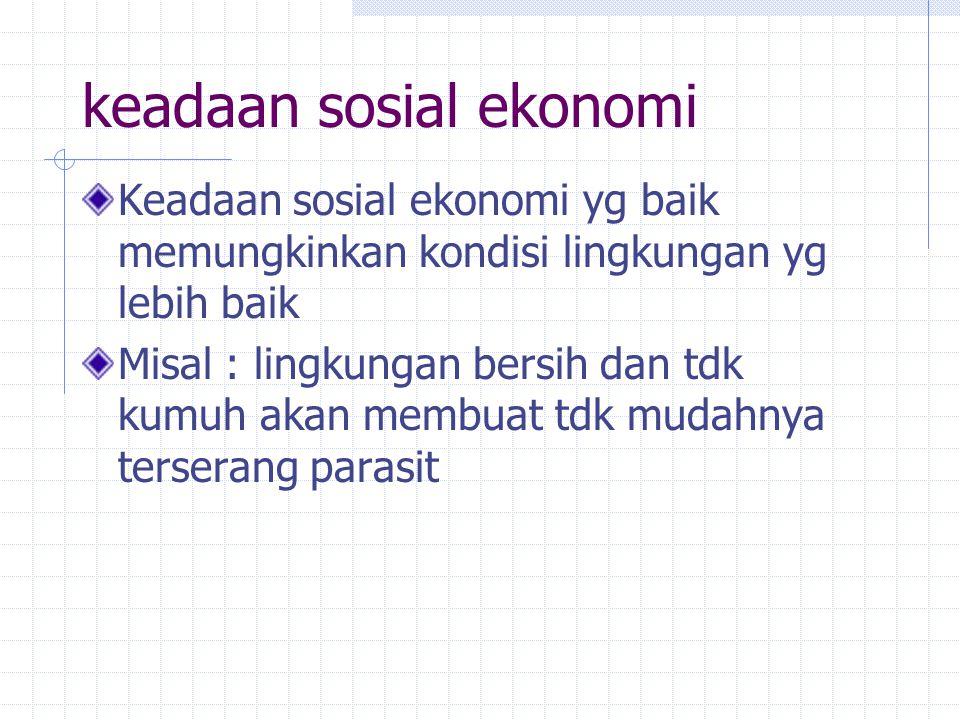 keadaan sosial ekonomi Keadaan sosial ekonomi yg baik memungkinkan kondisi lingkungan yg lebih baik Misal : lingkungan bersih dan tdk kumuh akan membu