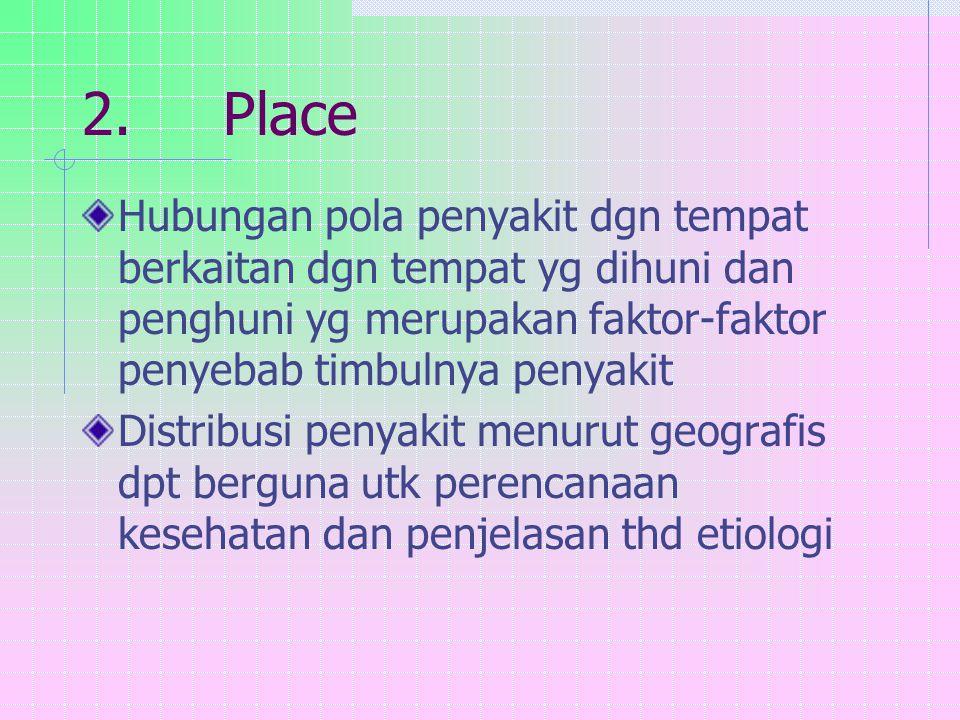 2. Place Hubungan pola penyakit dgn tempat berkaitan dgn tempat yg dihuni dan penghuni yg merupakan faktor-faktor penyebab timbulnya penyakit Distribu