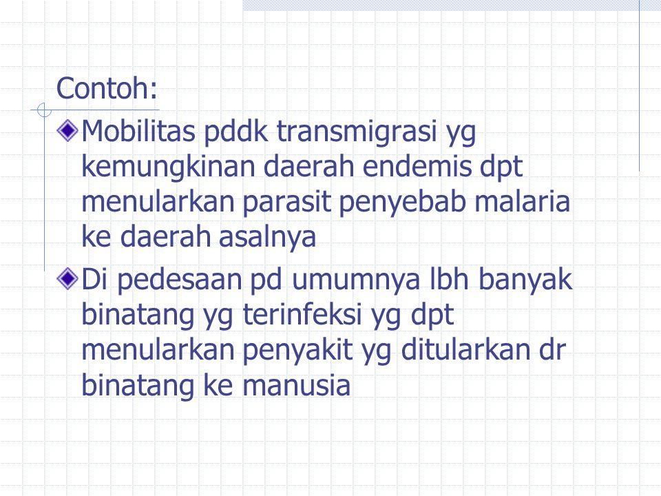 Contoh: Mobilitas pddk transmigrasi yg kemungkinan daerah endemis dpt menularkan parasit penyebab malaria ke daerah asalnya Di pedesaan pd umumnya lbh